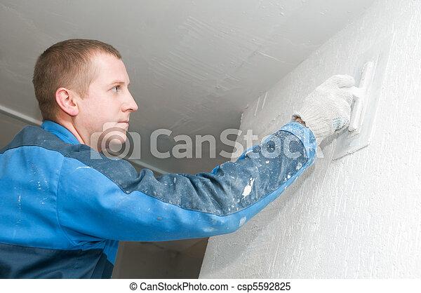 Plasterer at work - csp5592825