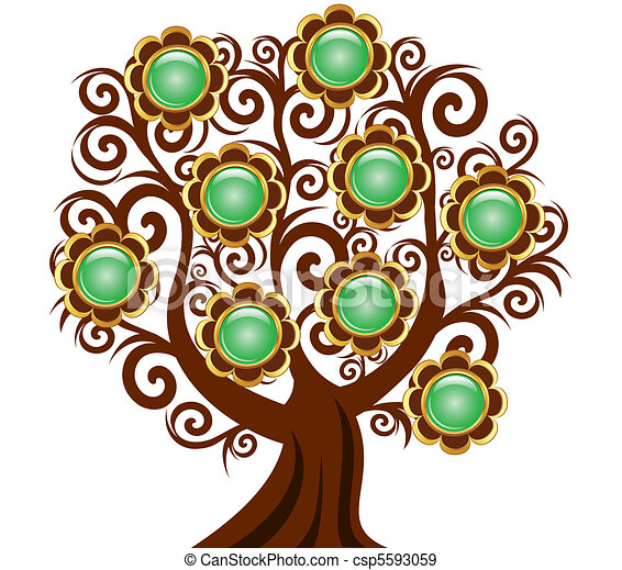 vector illustration of a curl tree with flower buttons isolated on white background - csp5593059