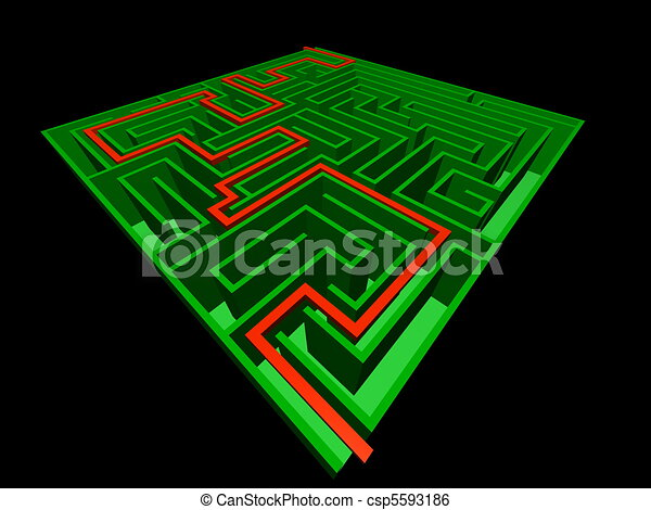 3d Maze Drawing 3d View of The Solved Maze