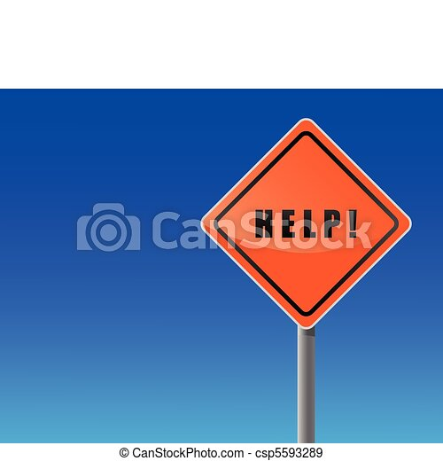 Signpost help on sky background. - csp5593289
