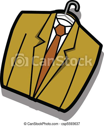 Coat jacket business suit on hanger - csp5593637