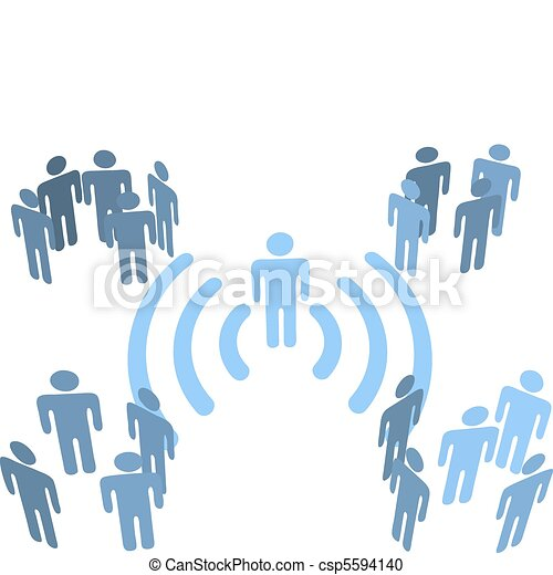 Person wifi wireless connection to people groups - csp5594140