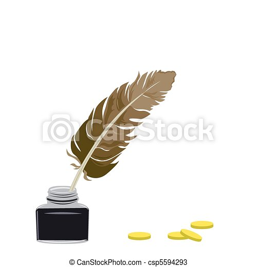 Inkstand and feather - csp5594293