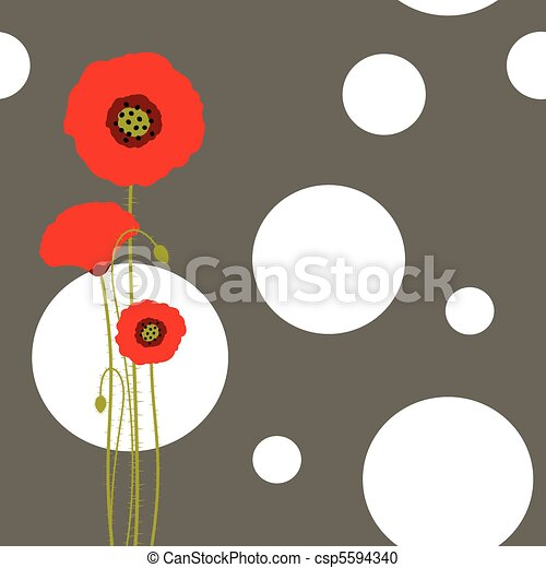 Abstract red poppy wallpaper - csp5594340