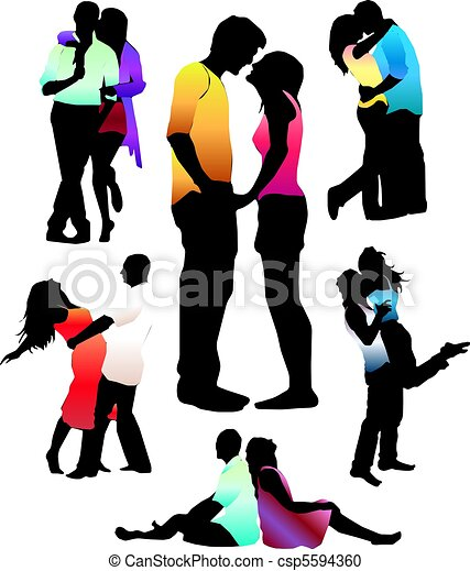 Set of happy love couple silhouettes. - csp5594360