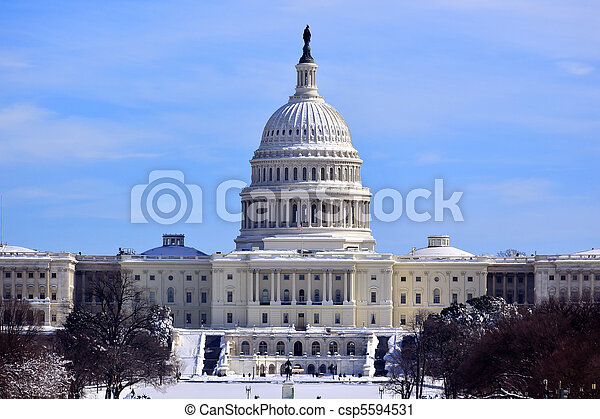 US Capitol Dome Houses of Congress After Snow Washington DC - csp5594531