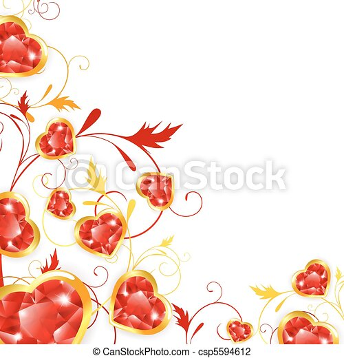 floral frame with jewelry hearts - csp5594612