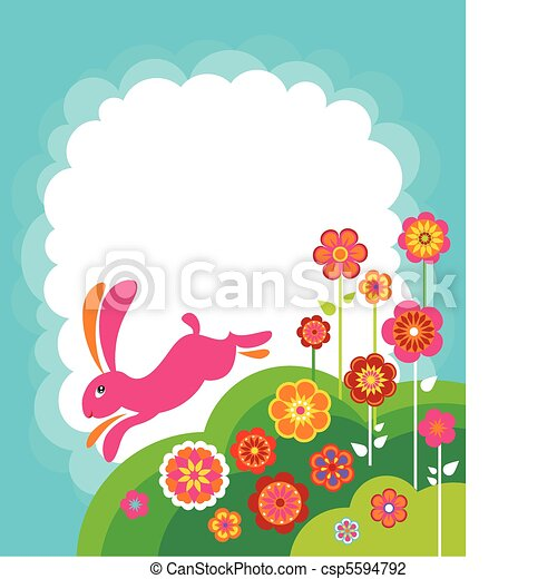 Running Easter bunny template - csp5594792