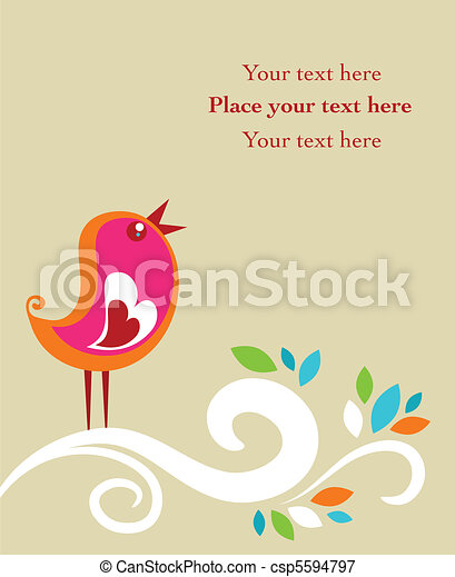 Retro Easter card with a bird - csp5594797