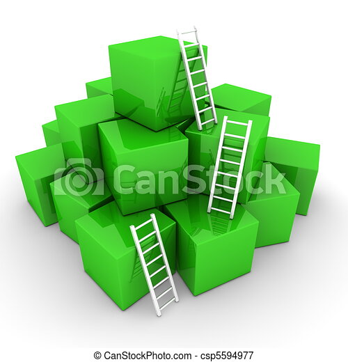 Batch of Shiny Green Boxes - Climb up with Bright White Ladders - csp5594977
