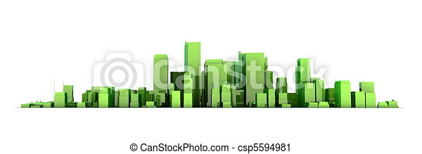 wide 3D cityscape model in shiny green/yellowish  with a white background - buildings are casting no shadows - csp5594981