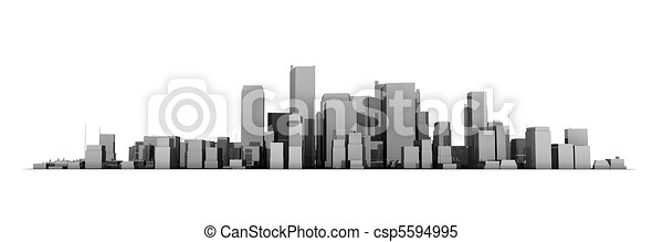 Wide Cityscape Model 3D - Shiny Dark Grey City White Background - csp5594995