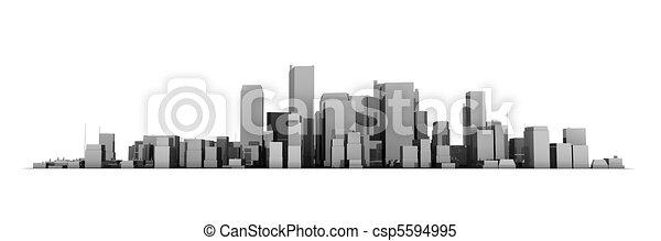Wide Cityscape Model 3D - Shiny Dark Grey City White Background - csp5594995