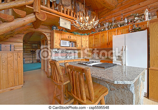 Kitchen - log cabin with rustic unique detail  - csp5595548