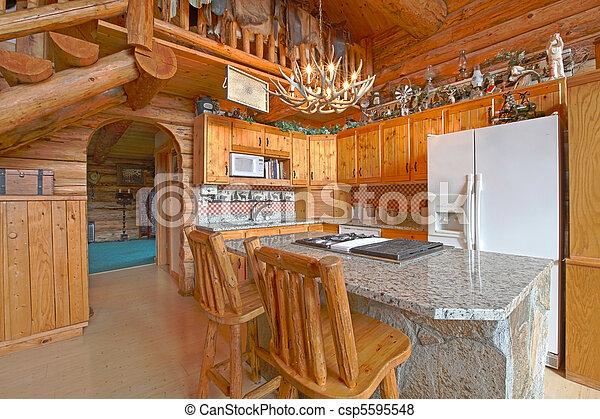 Kitchen - log cabin with rustic unique detail  - csp5595548