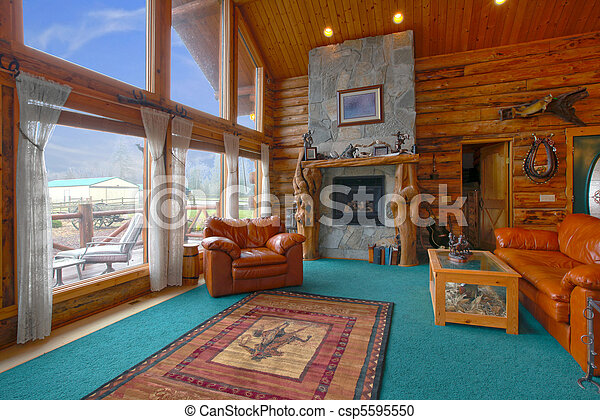 Rustic log cabin living room - csp5595550