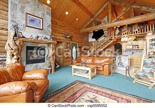 Stock Photo Of Log Cabin Rustic And Large Living Room