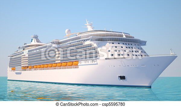 Cruise ship on the ocean perspective view - csp5595780