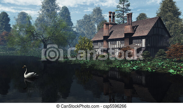 English Traditional Riverside Manor - csp5596266