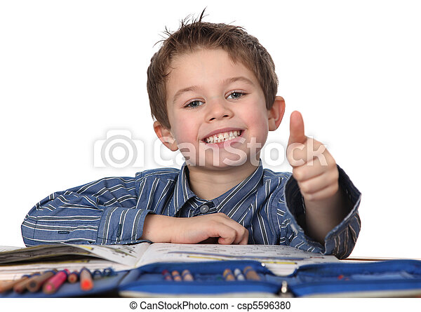 young boy learning - csp5596380