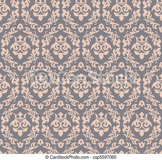 seamless damask background - csp5597060