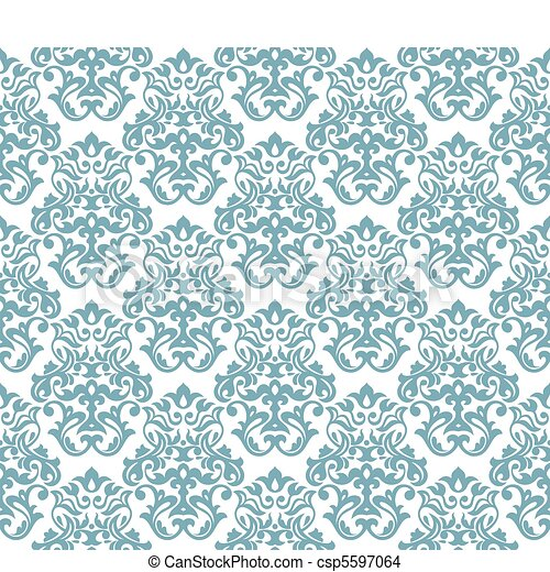 seamless damask background - csp5597064
