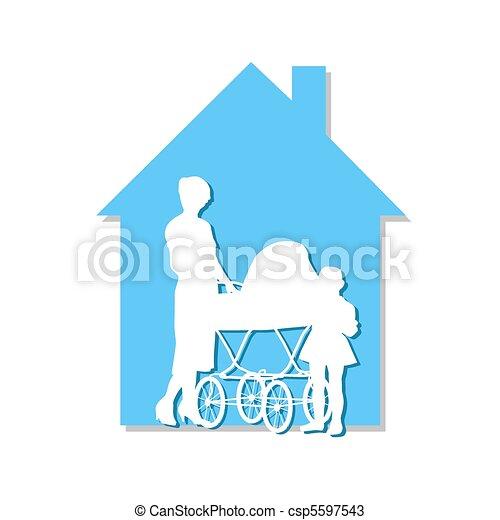 Perambulator in the house - csp5597543