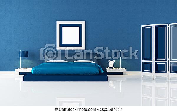 Image de bleu chambre coucher contemporain bleu - Plan chambre a coucher ...