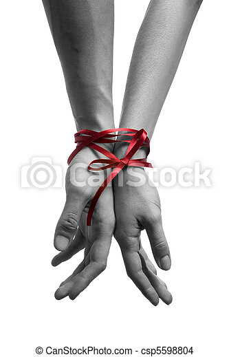 hands tieing with ribbon - csp5598804