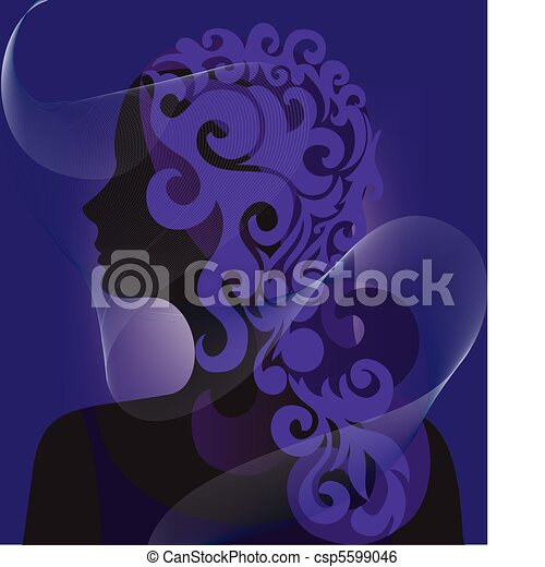 silhouette of a woman under a veil - csp5599046