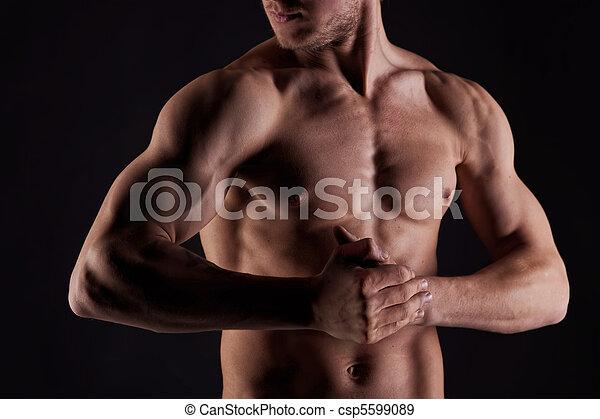 desnudo, estómago, muscular, agua, sexy, gotas, hombre - csp5599089