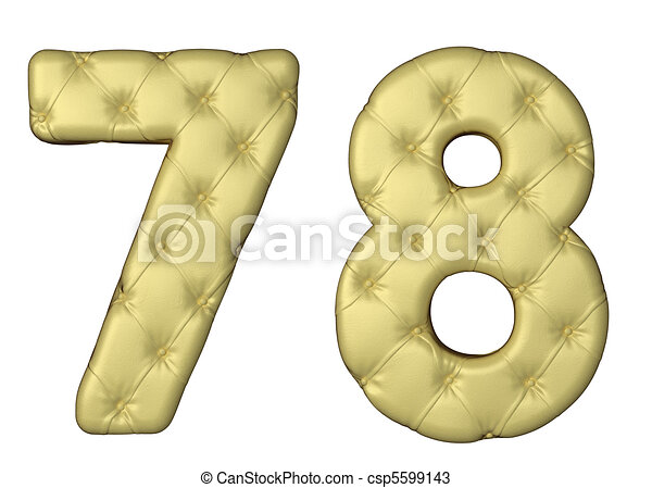 Luxury beige leather font 7 8 numerals - csp5599143