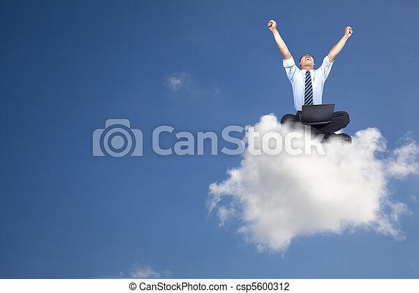 商人, 電腦, 年輕, 雲, 坐 - csp5600312