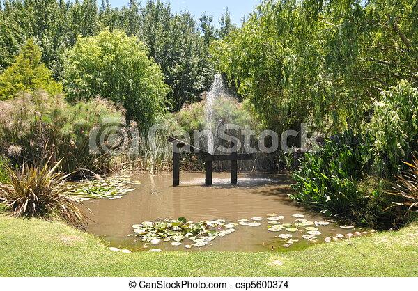 Hout beton schutting vijver in kleine tuin for Kleine tuinvijver