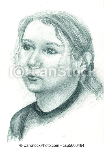 Stock photo of hand painted portrait of a woman in dark for Hand painted portraits from photos