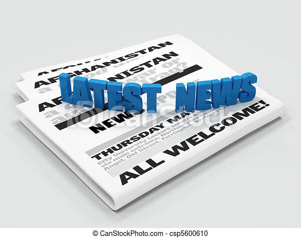 Latest news logo on newspaper - digital artwork - csp5600610