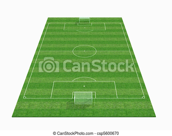 perspective view of an empty soccer field -3d renderig - csp5600670