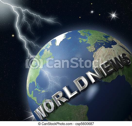 world-news globe  and lighting - csp5600687