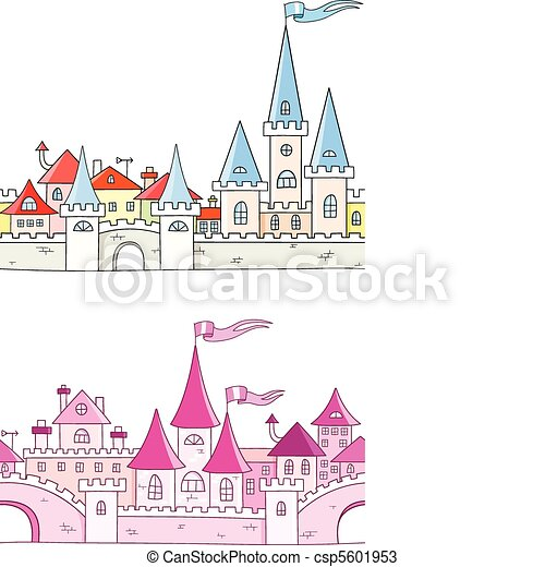 Seamless vector background with fantasy castle - csp5601953