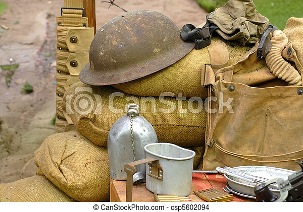 Items displayed from a World War 2 soldier - csp5602094