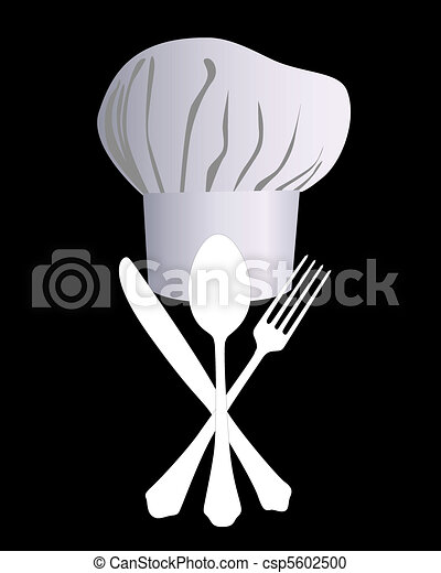 chef's hat with a knife, spoon and - csp5602500