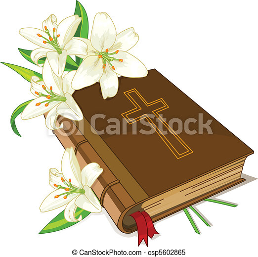 Bible and lily flowers - csp5602865