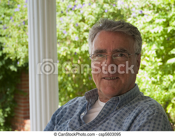 Old man smiling, at retirement home Seniors Health Retirement  - csp5603095