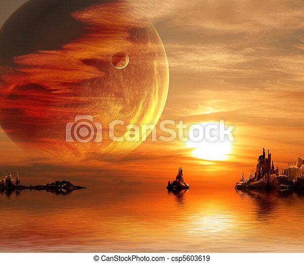 fantasie, Sonnenuntergang - csp5603619