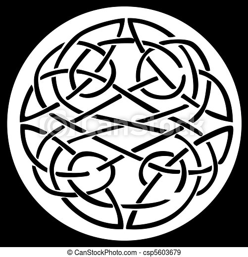 A celtic knot and pattern in a circle design - csp5603679