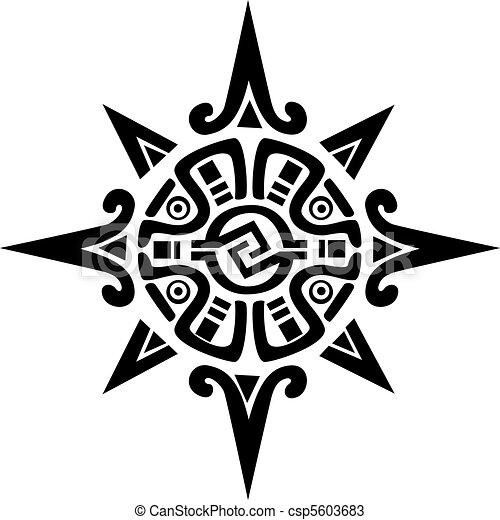 Mayan or Incan symbol of a sun or star - csp5603683