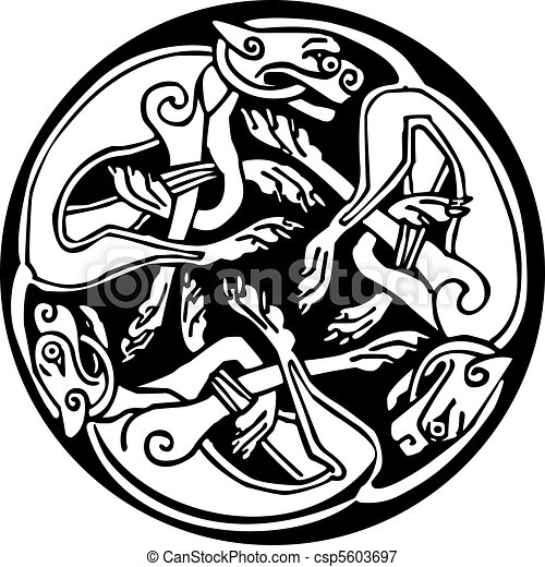 Celtic design of a three dogs biting their tails, intertwined, inside a circle with knots design. Great for artwork or tattoo - csp5603697