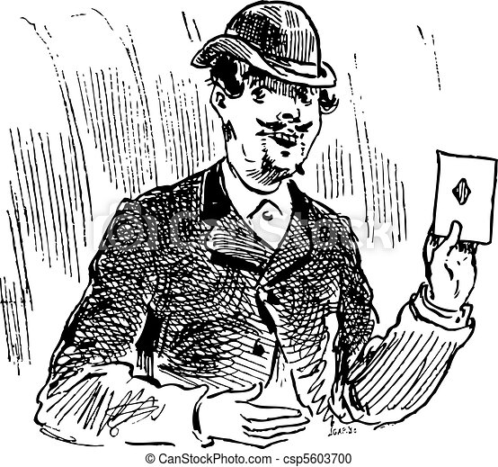 The three card trickster engraving illustration - csp5603700