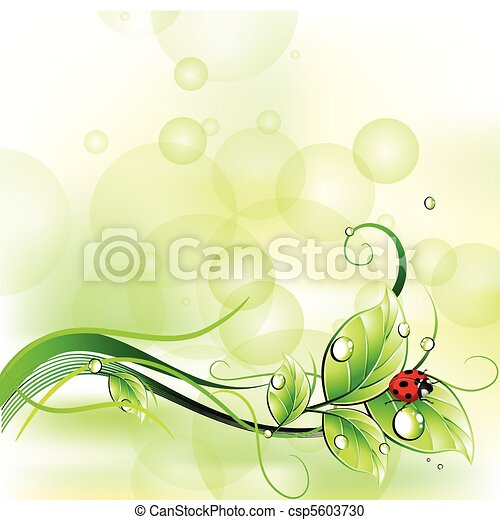 Blur background with ladybirth. Vector - csp5603730