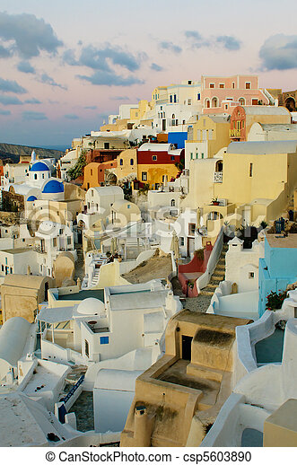 Oia village at Santorini island, Greece - csp5603890